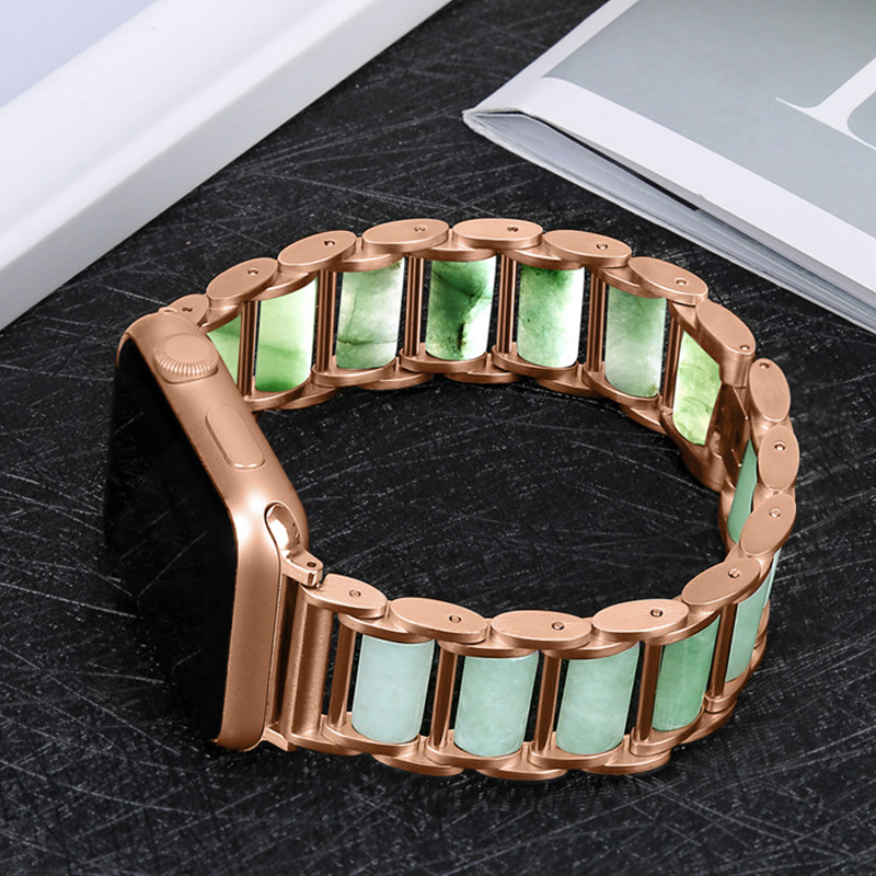 Band For Apple Watch 3/2/1 38mm 42mm Emerald Jade Replacement Wrist Strap Sport Loop Bracelet correa iwatch series 4/5 40mm 44mm
