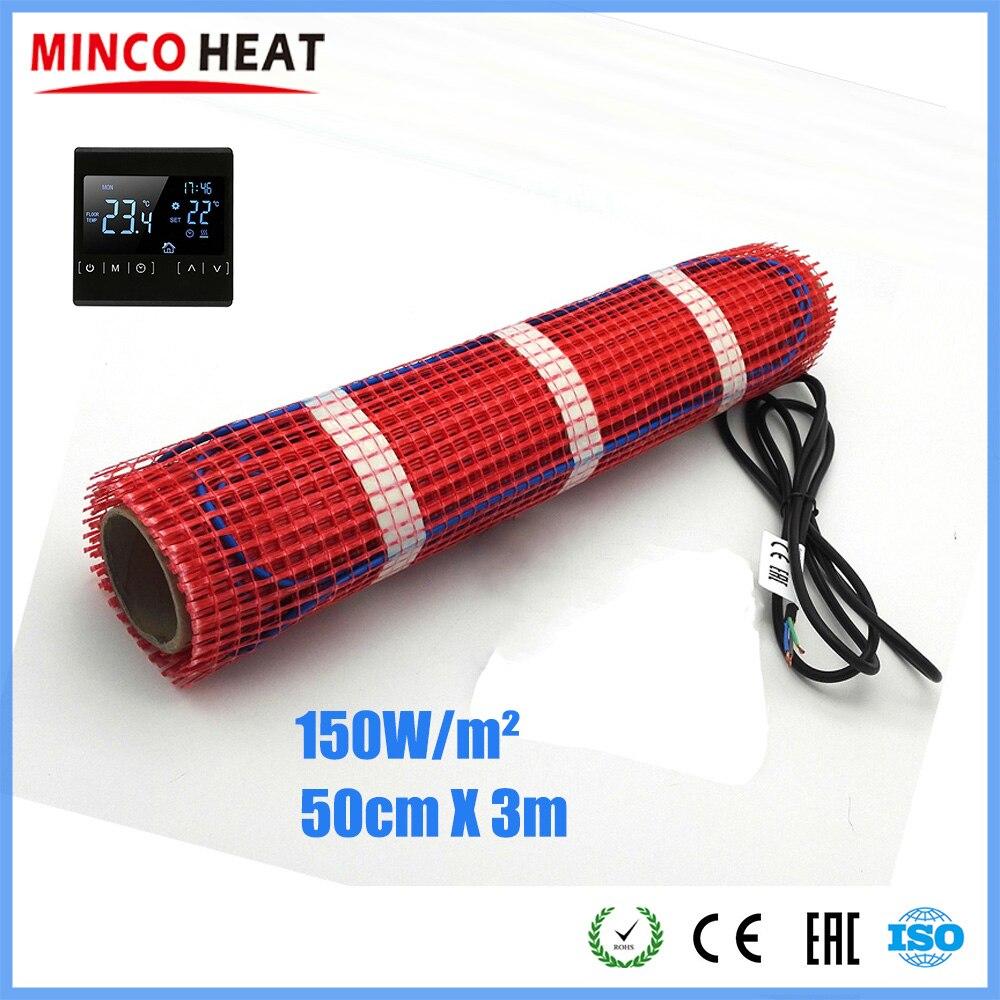 Minco Heat 3m X 50cm Floor Heating Mat Home Bathroom Warming 220V 150W/sqm