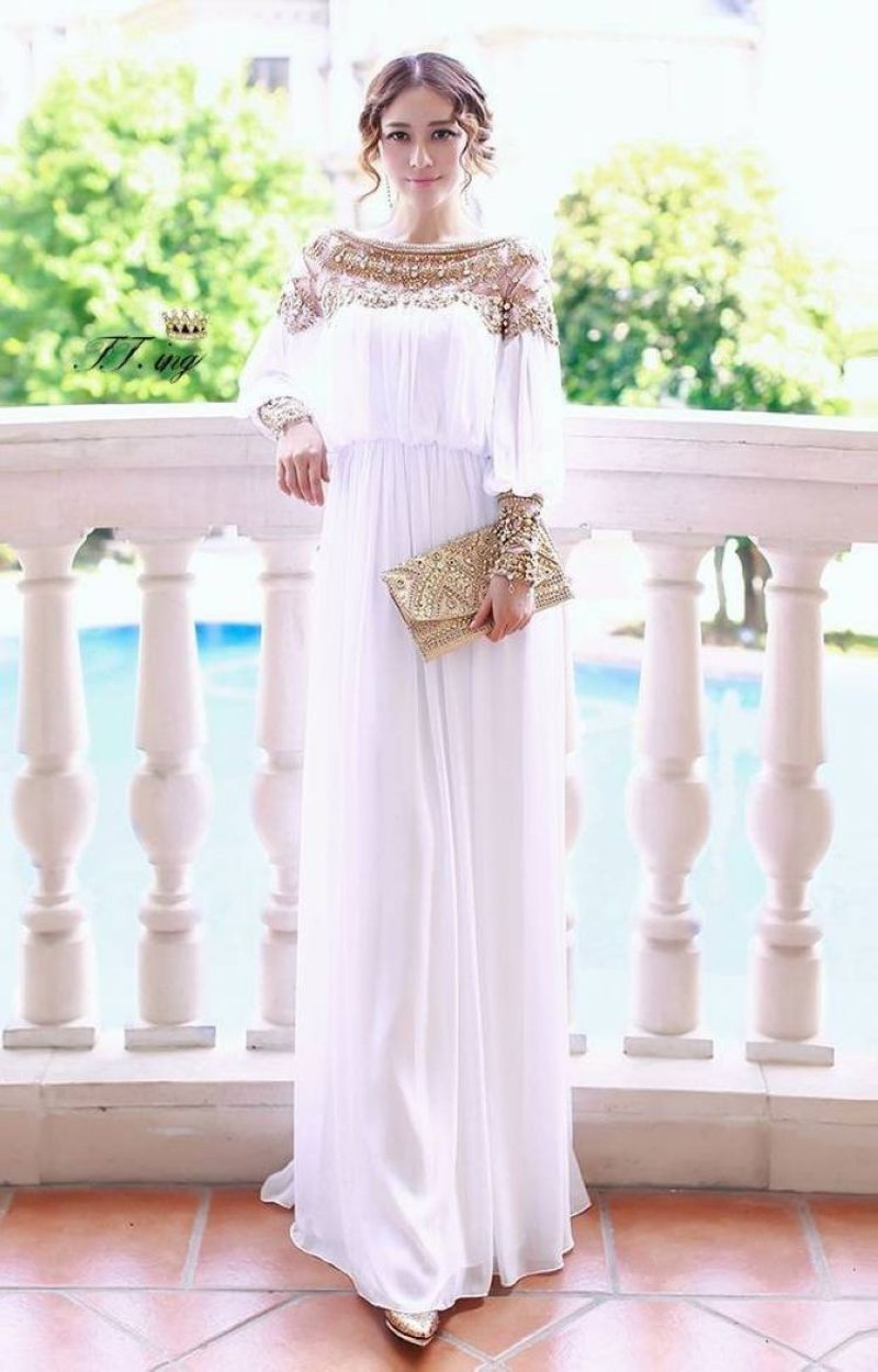 Muslim Abaya Dress Turkish Women Clothing Heavy Beaded Chiffon Islamic Moslem Long Sleeve Dresses Robe Arabic