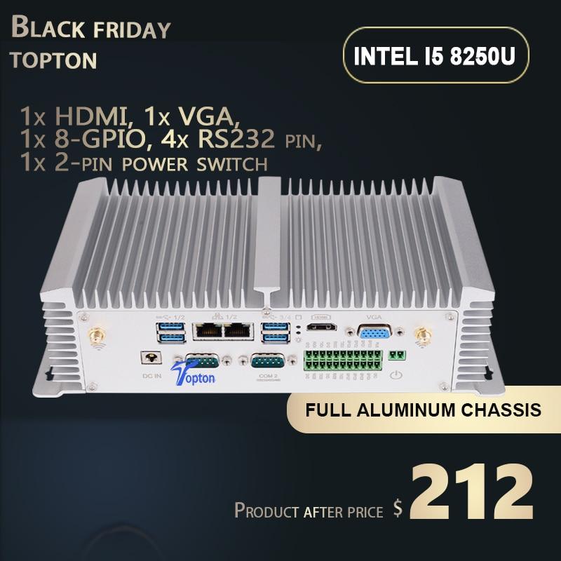 Fanless Mini PC Industrial Desktop PC With Intel Core  I5 8350U I7 7500U 2*LAN HDMI VGA GPIO DDR4 SIM 4G LTE