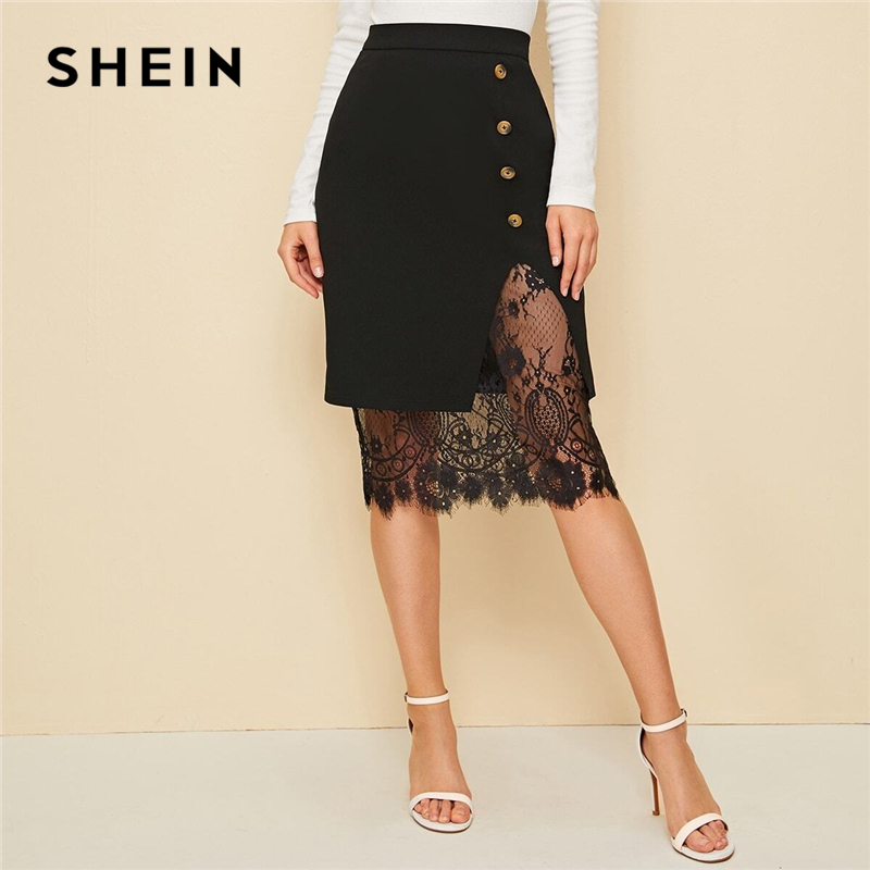 SHEIN Black Eyelash Lace Trim Button Side Pencil Skirt Women 2019 Autumn High Waist Contrast Lace Sheer Elegant Midi Skirts