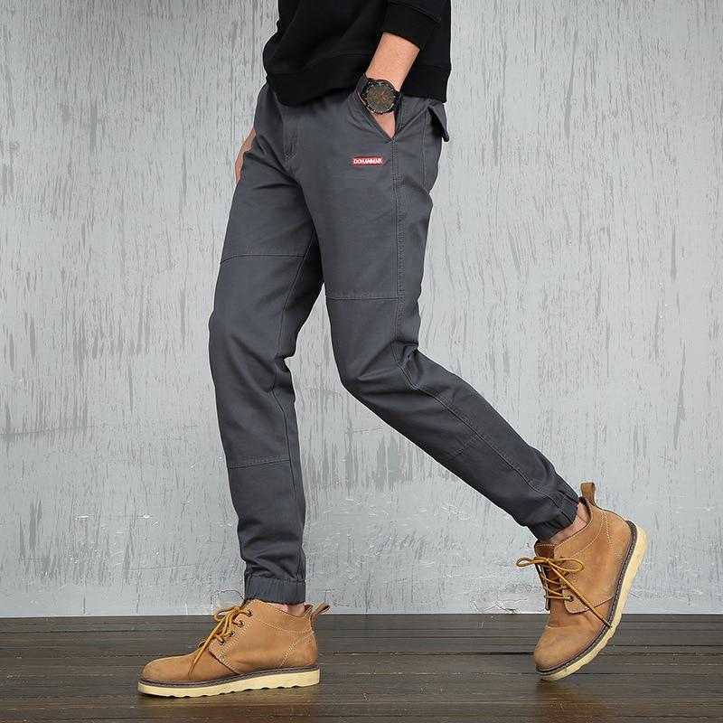 Ankle-Length Pants Men's Cotton Twill Jogger Pants Expandable Drawstring Waist Multi Pocket Men Trousers 2020 Summer