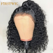 цена на Short Bob Lace Front Human Hair Wigs Brazilian Curly Human Hair Wig For Black Women 130 180 250 Density Lace Wig