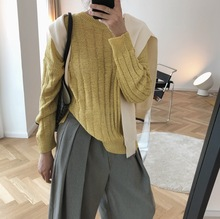 In The Early Autumn of 2019 New Simple Solid Color Sweater Loose Slim Stripe Knit Top Is Pullovers Women Sweaters