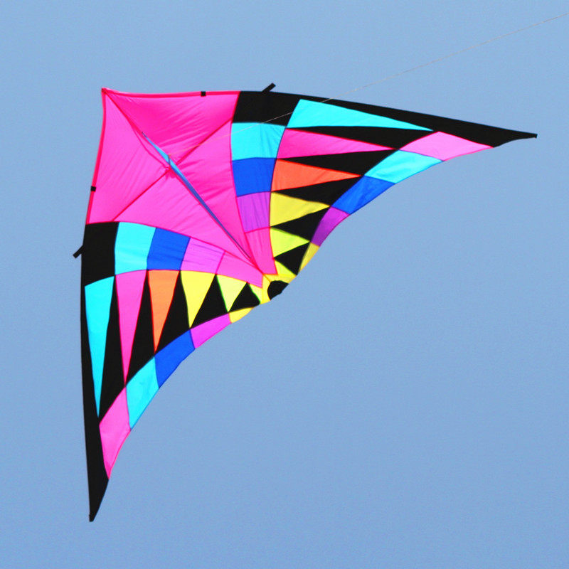 Livraison gratuite de haute qualité arc-en-ciel cerf-volant ensemble de bobine poignée cerfs-volants queue triangle drachen cerfs-volants pour adultes voile vent spinner poisson