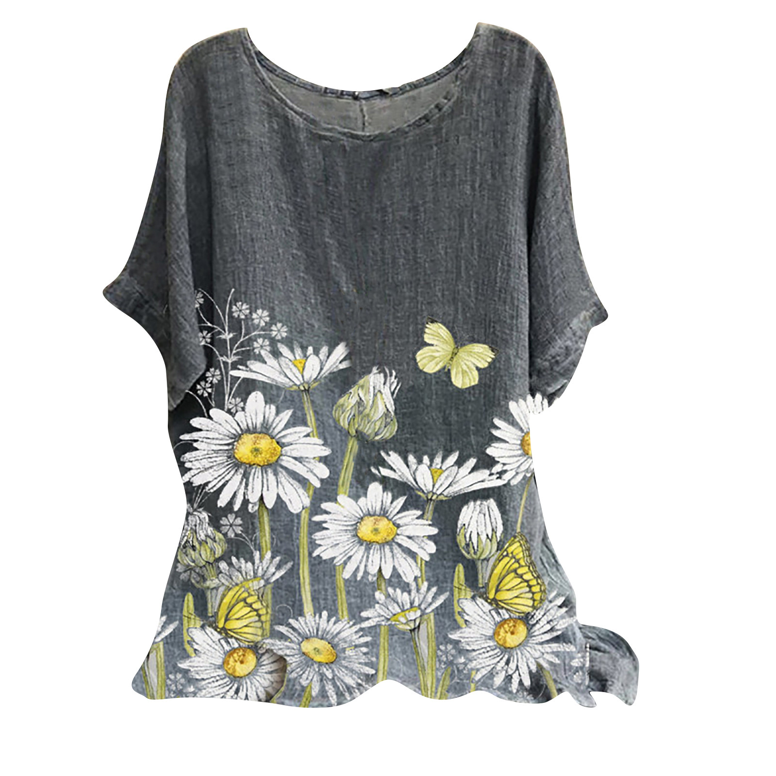 3xl Plus Size Summer Clothes For Female Tops 2021 New Fashion Woman Vintage Short Sleeve Floral Print Top Shirts Blouse Рубашка Women Women's Blouses Women's Clothings