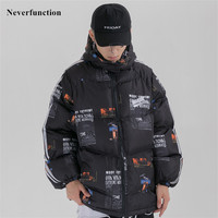 Winter Letter Printed Patchwork Thick warm windproof Padded jacket men Hip hop Streetwear Oversized Hooded Parka Coats Outerwear