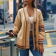 купить Women Autumn Casual Cardigan Sweater Female Winter Color Block Loose Knitwear Warm Coat Knit Jackets sueter mujer invierno 2019 онлайн