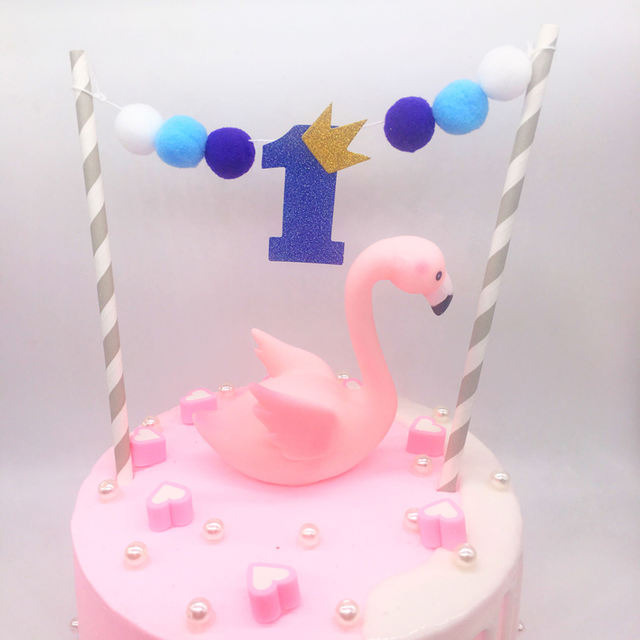 Pompon Decorated Cake Topper for Birthday