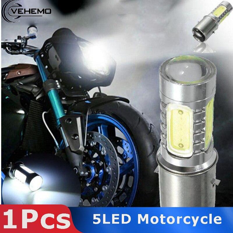 VEHEMO 1pcs 5 LED Motorcycle Scooter Moped Headlight  Headlamp Bulb Fog Light B35  12V 7.5W  6500k Motobike Accessories