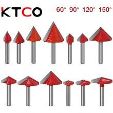Ktco 6 мм 60/90/120/150 градусов v bit cnc dolid карбидная торцевая