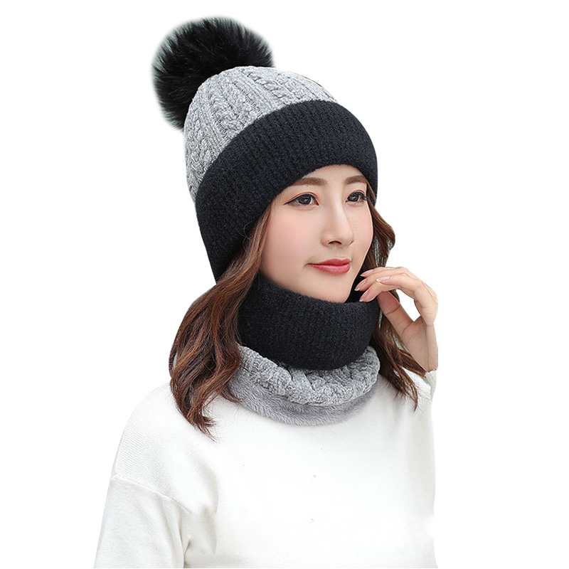 2019 New Winter Hat Scarf 2/set Plus Velvet Hats For Women Thick Knit Patchwork Pompoms Cap Women's Snood Ladies Collar Scarfs
