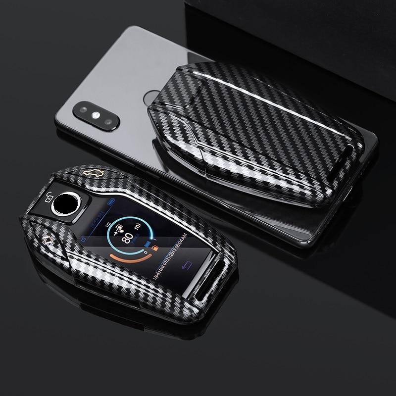 Глянцевый чехол для автомобильного ключа из углеродного волокна ABS со светодиодный ным дисплеем, чехол для BMW 5 7 серии G11 G12 G30 G31 G32 i8 I12 I15 G01 X3 G02...