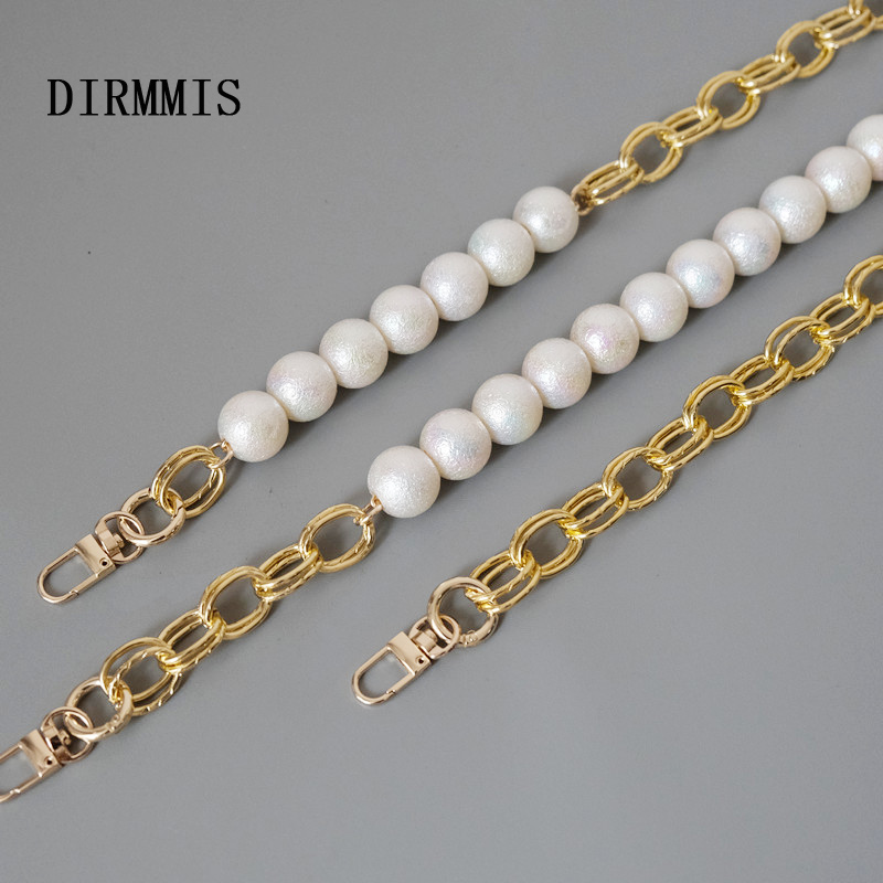 New Fashion Woman Handbag Accessory Parts White Pearl Acrylic Resin Chain Luxury Solid Strap Women Shoulder Cute Clutch Chains