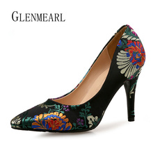 Women Pumps High Heels Shoes Plus Size Pointed Toe Embroider