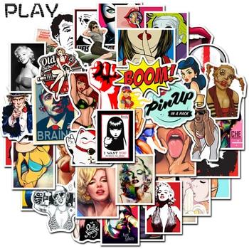 50 шт., Ретро стиль, сексуальные Стикеры для девочек, стикеры для девочек, наклейки для DIY, наклейки на скейтборд, багаж, ноутбук, скейтборд, наклейка, игрушка, наклейка