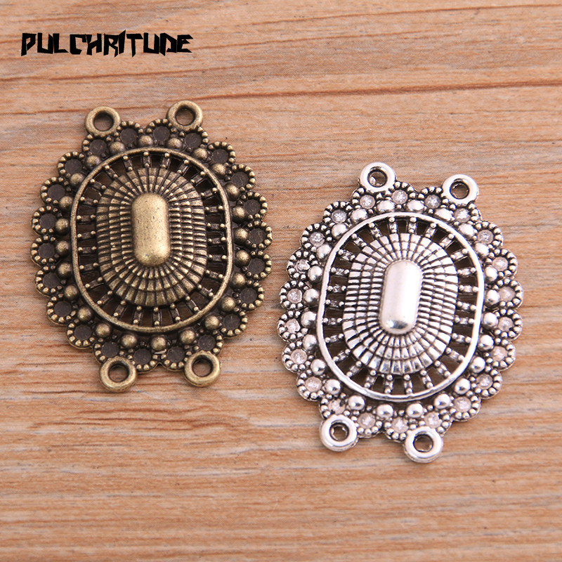 PULCHRITUDE 6pcs 28*36mm Retro Two Color Zinc Alloy Hollow Oval Pendants Connectors Linker For DIY Charm Jewelry Accessorie