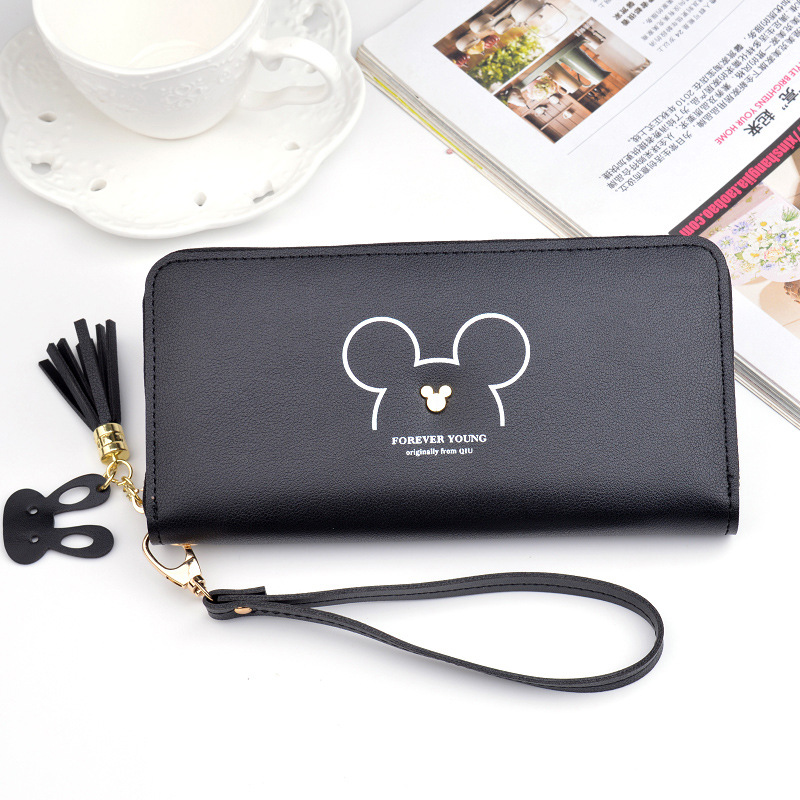 Disney Mickey Mouse Cute Wallet Lady Long Zipper Tassel Key Coin Purse Student  Wallet Minnie Card Holder Clutch