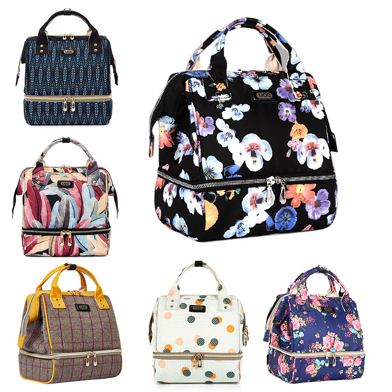 Floral Multi-functional Mommy Diaper Backpack Maternity Large Capacity Dry Wet Separation Zipper Mother Travel Nappy Nursing Bag