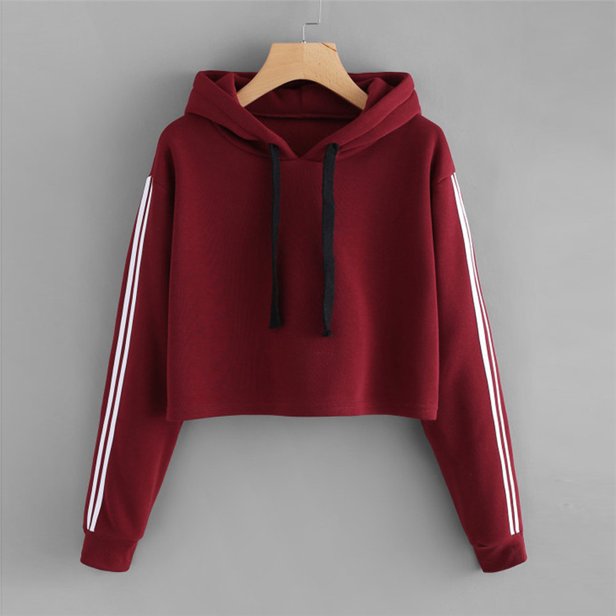 Solid Color Hooded Tops Womens Striped Long Sleeve Hoodie Sweatshirt Jumper Hooded Pullover Tops Blouse Autumn Innrech Market.com