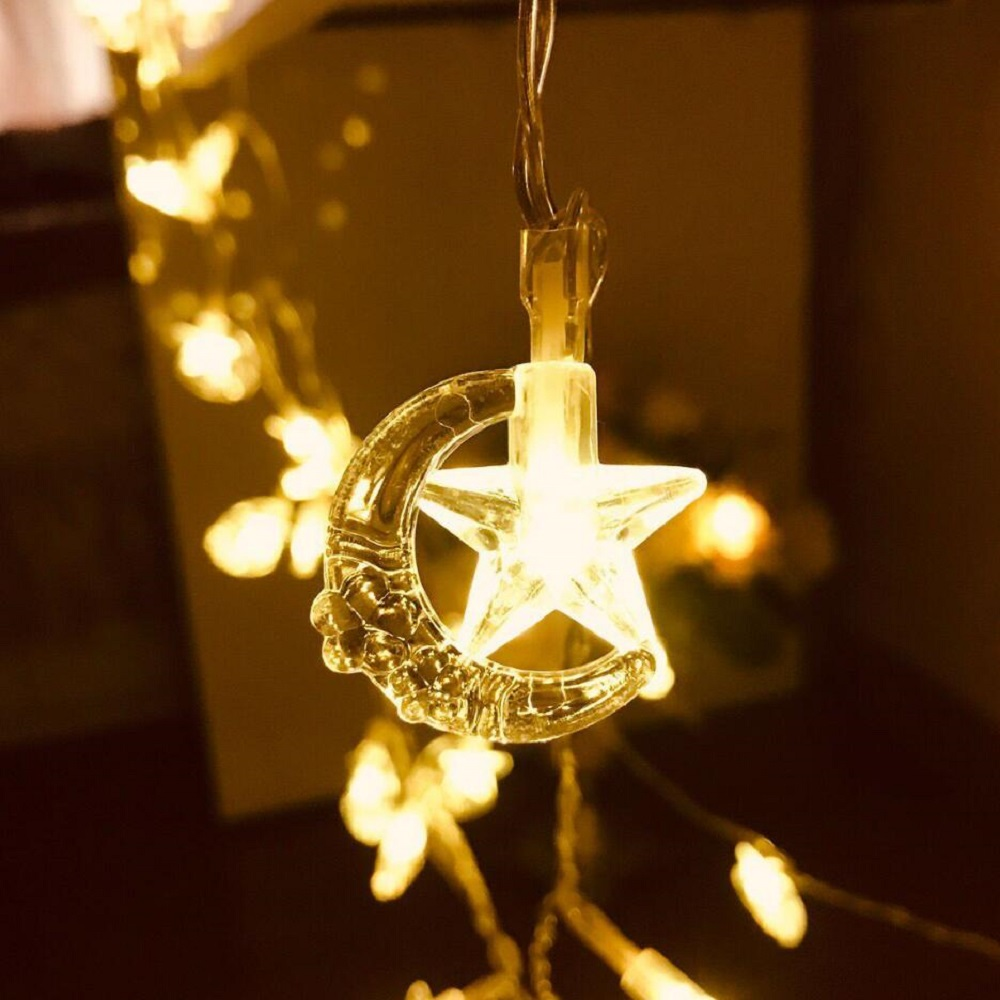 10 20 30 40 80 LED Star Moon String Light Twinkle Holiday Light Fairy Garland USB Powered For Christmas Festival Party Wedding