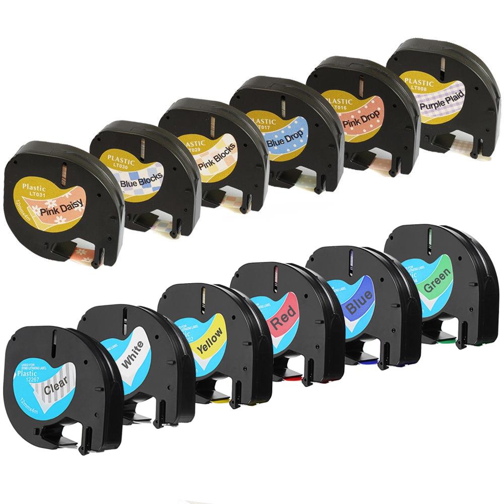 12mm 91201 Compatible Dymo LetraTag Bandes d'étiquettes 12267 91200 91202 91203 91204 91205 91331 91221 59422 pour Dymo LT-100H imprimante