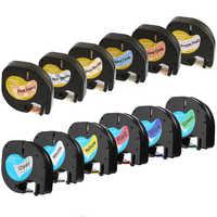 12mm 91201 Fitas de etiquetas Compatíveis Dymo LetraTag 12267 91200 91202 91203 91204 91205 91331 91221 59422 para Dymo impressora LT-100H