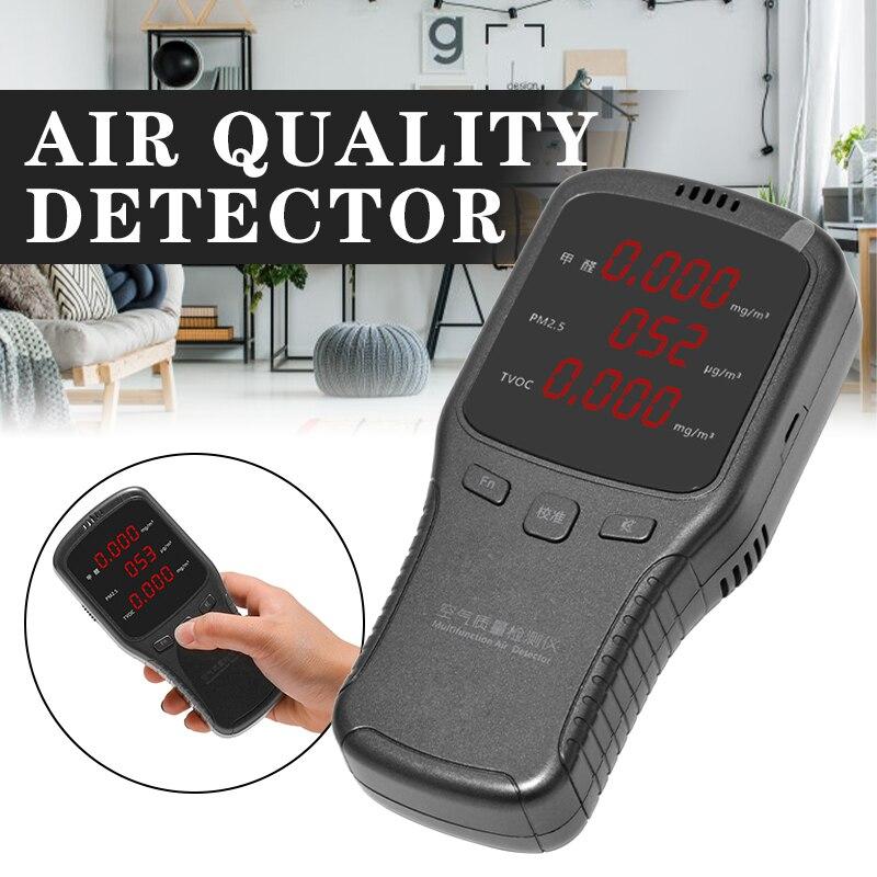 Multifunctional Gas Analyzer Air Quality HCHO TVOC PM1.0 PM2.5 PM10 Monitor for Household Car Digital Formaldehyde Detector