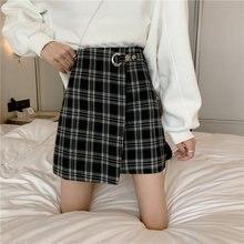 Корейская одежда клетчатая Повседневная Женская мини юбка женская