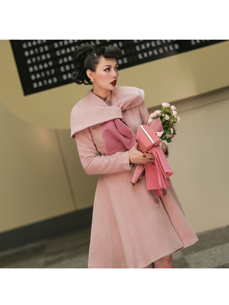 Le Palais Vintage 2019 Winter Original Vintage Pink Irregular Shawl Scarf Collar Collect Waist Skirt Long Wool Coat Women - 4