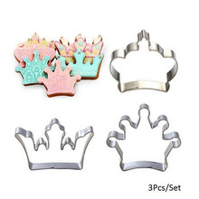 2020 3 pz/set Corona Cookie Cutter Cookie Cutter in acciaio inox stampo Re Principe queen Princess Crown strumento di decorazione della torta(China)