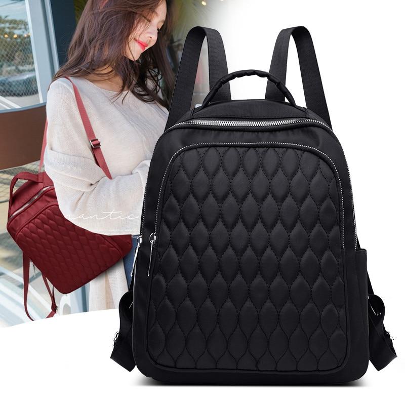 Fil à coudre femmes sac à dos diamant treillis Oxford école livre sac pour adolescente décontracté femme sac à dos noir dame sac de voyage