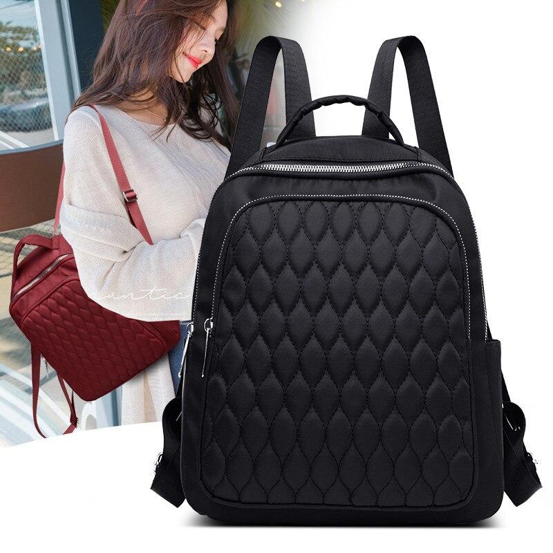 Sewing Thread Women Backpack Diamond Lattice Oxford School Book Bag For Teenage Girl Casual Female Backbag Black Lady Traval Bag