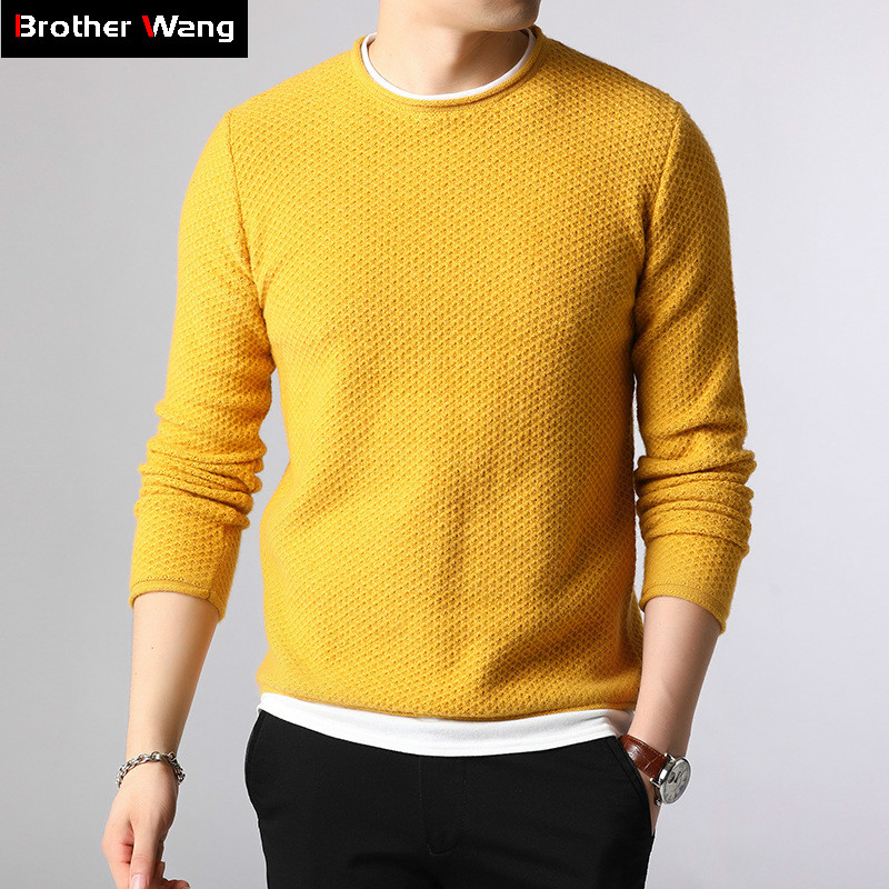 2019 Autumn And Winter New Men's Knitted Sweater Fashion Casual Splice Long Sleeve Sweater Male Brand Clothes Yellow Blue Black