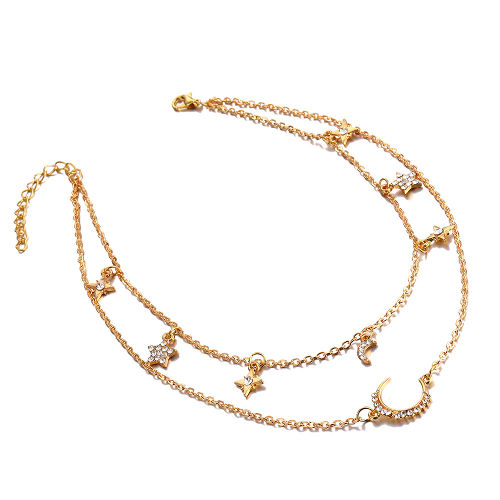 Women's Vintage Multi-layer Star Moon Crystal CHOKER Necklace 2020 Bohemian Neck Jewelry Fashion Jewelry Party Gift