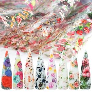Image 4 - 1 กล่องผสมเล็บฟอยล์ Decals ชุดดอกไม้พิมพ์กาวกาวกาวฟิล์มกระดาษสีสันดอกไม้ 3D Charm อุปกรณ์เสริมเคล็ดลับ CHXKH40 54