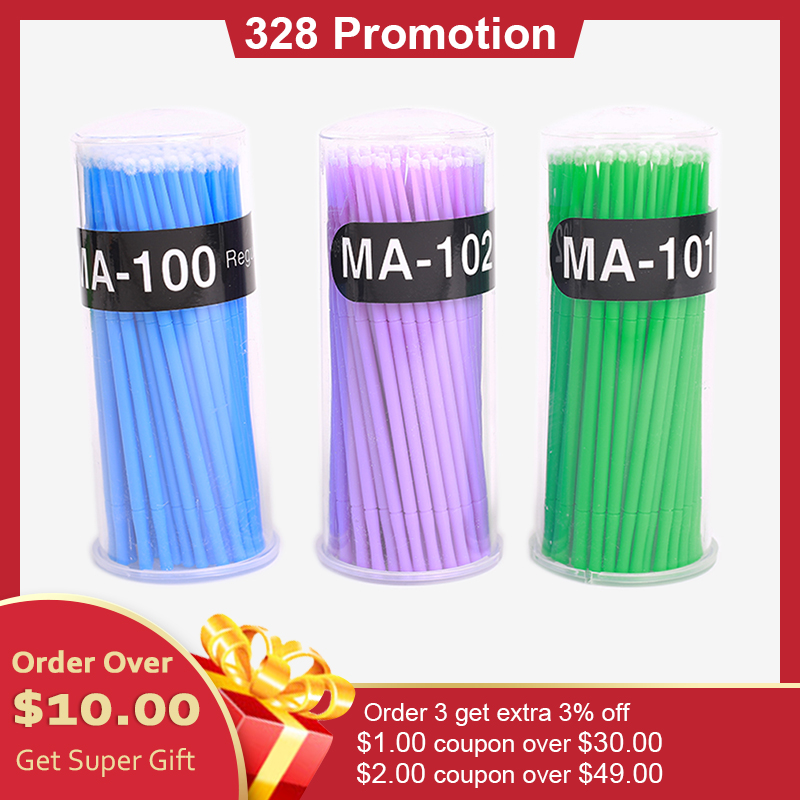 100pcs/pack 1.5/2/2.5mm Tattoo Microblading Brushes Disposable Swab Lint Free Micro Brush Permanent Tattoo Supplies For Eyelash