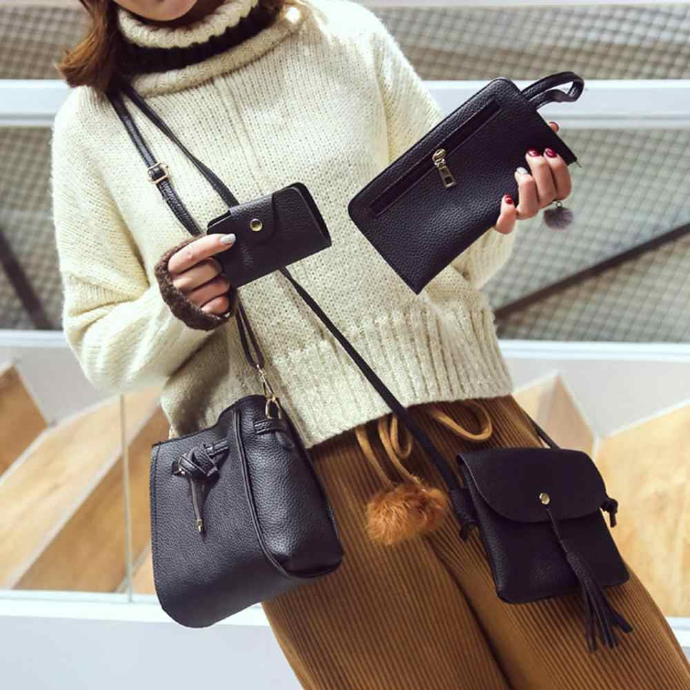 4 Pcs/set PU Kulit Jumbai Bahu Tas Wanita Kapasitas Besar Tas Portabel Tas Tangan Mini Kartu Tas Travel Messenger Bag