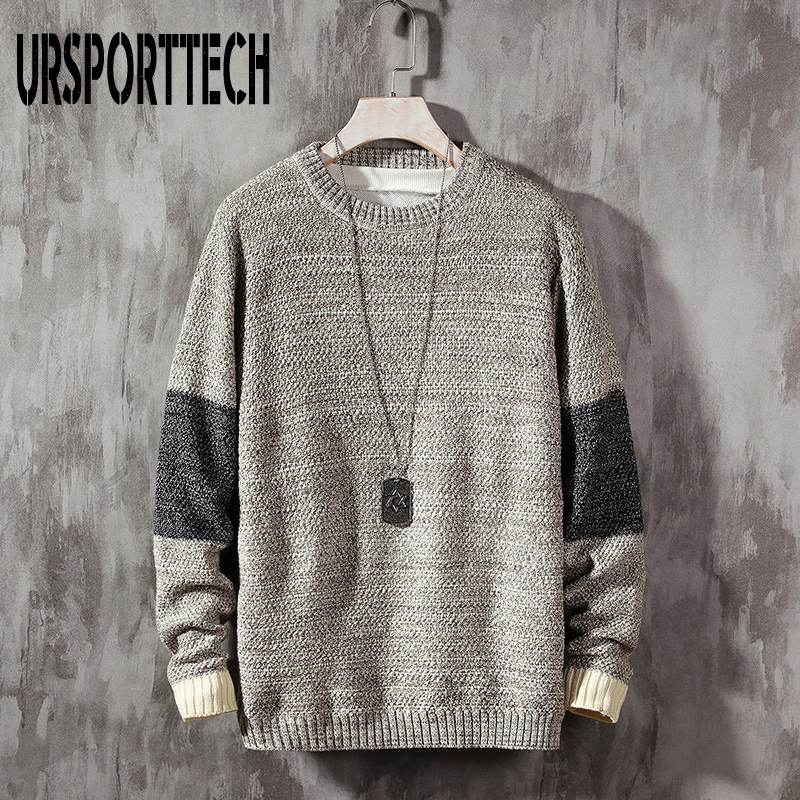 URSPORTTECH 2019 New Casual Sweater Men Long Sleeves Autumn Winter Pullover Knitted O-Neck Pulover Hombre Plus Asian Size M-5XL