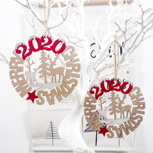 2020 New Year Christmas Ornament Wooden Hanging Pendants Xmas Party Decor Home Decoration Tree