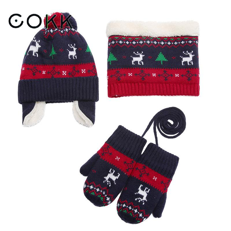 COKK Winter Hat And Gloves Set For Boys Girls Velvet Thickening Set For Children Keep Warm Knitted Hat With Scarf Christmas Gift