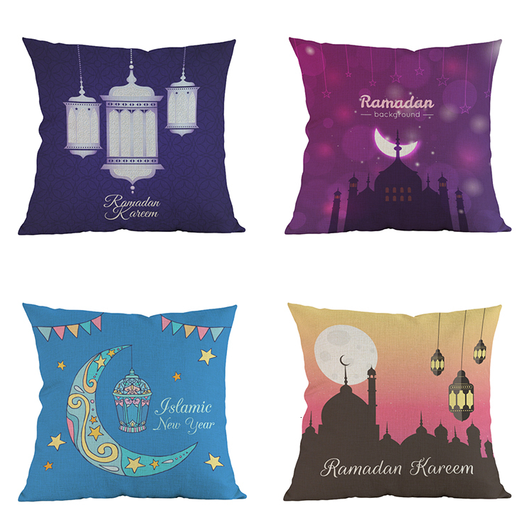 Ramadan Eid Islam cushion cover linen Muslim mosque moon pillow cover cojines Home decoration coussin pillow case almofada