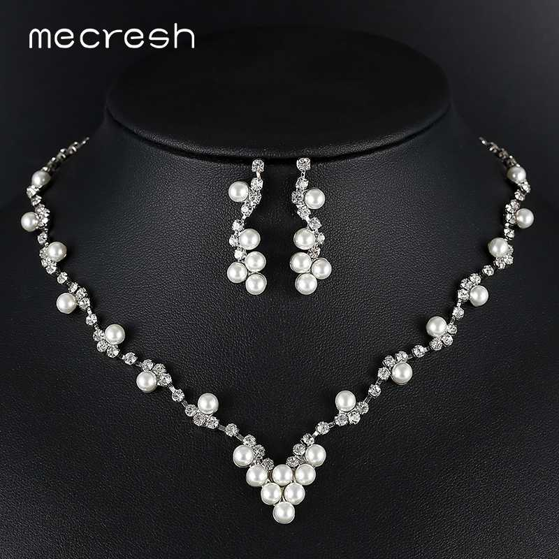 Mecresh Simulated Pearl Bridal Jewelry Sets Women Silver Color Rhinestone Earring Necklace Sets Wedding Engagement Jewelry TL584