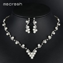 Mecresh Simulated Pearl Bridal Jewelry Sets Women Silver Color Rhinestone Earring Necklace Sets Wedding Engagement Jewelry TL584(China)