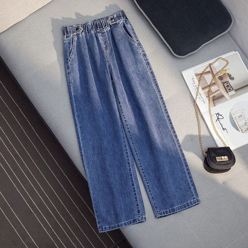 2020 Spring New Korea Fashion Women High Waist Denim Wide Leg Pants All-matched Casual Loose Jeans Plus Size Jean Trousers S282 image