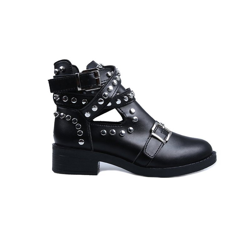 LZJ 2020 Buckle Ankle Boots For Women PU Leather Fashion Rivet Low Heel Shoes Women Motorcycle Boots Autumn Women Martin Boots 7