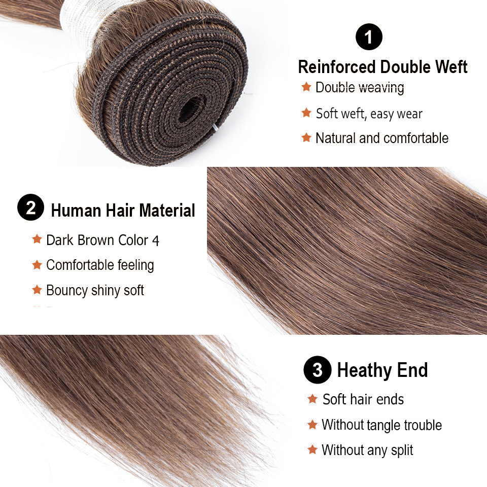 Image 3 - Bobbi Collection 1 Bundle Color 2 Dark Brown Indian Hair Weave Bundles Color 4 Straight Human Hair Weft Non Remy Hair ExtensionHair Weaves   -