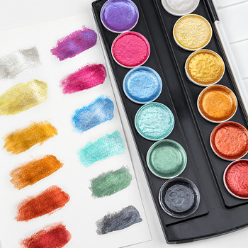 12Color Metallic Watercolor Set Gold Pigment Paint With Waterbrush For Artist Painting Glitter Water Color Art Supplies