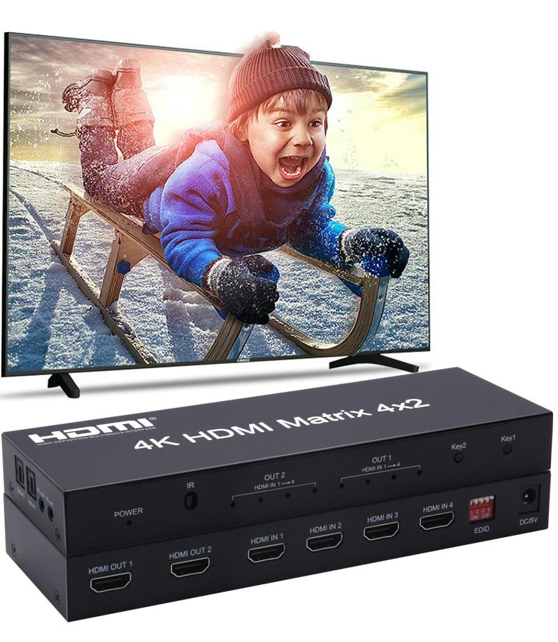 4K HDMI Matrix 4x2 4k x 2k 3D HDCP convertisseur de commutation EDID Audio extracteur SPDIF Toslink commutateur séparateur ordinateur portable TV STB vers HDTV
