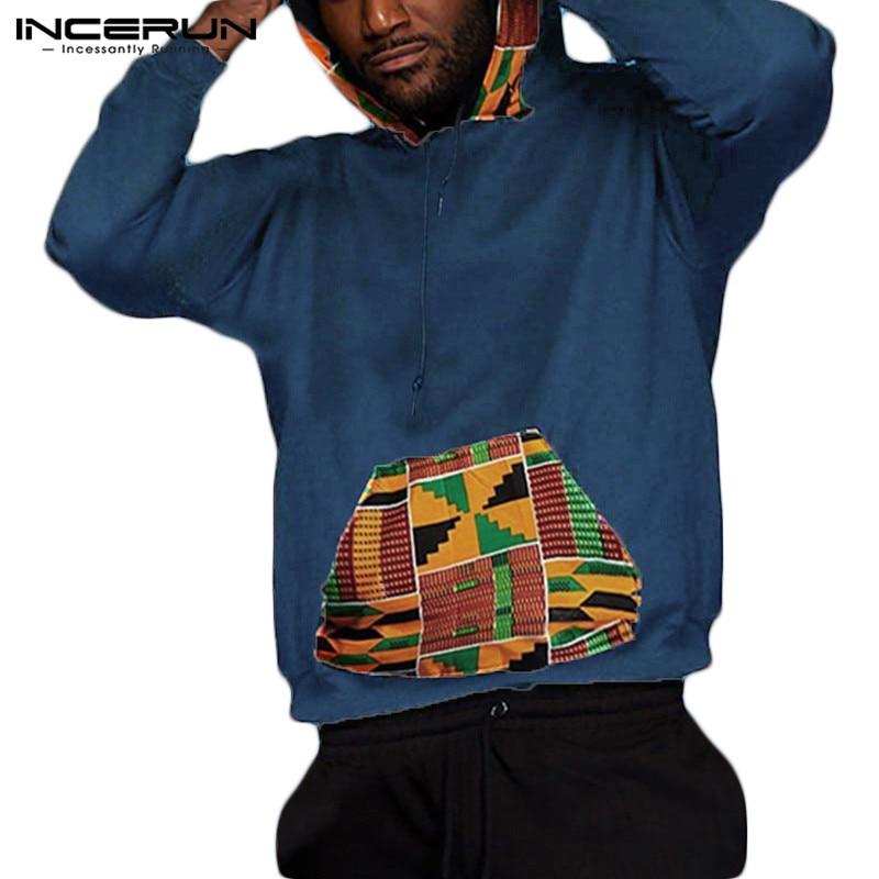 INCERUN Men Hoodies Long Sleeve Pockets Hooded 2020 Casual African Ethnic Style Printed Pullover Streetwear Men Sweatshirt S-5XL